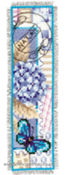 Blue Hydrangea And Butterfly Bookmark Cross Stitch Kit
